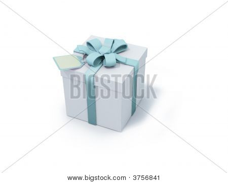White Present Box With Light Blue Ribbon