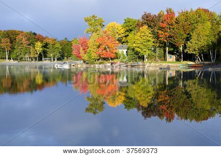 Reflections of Fall Colors on a Lake