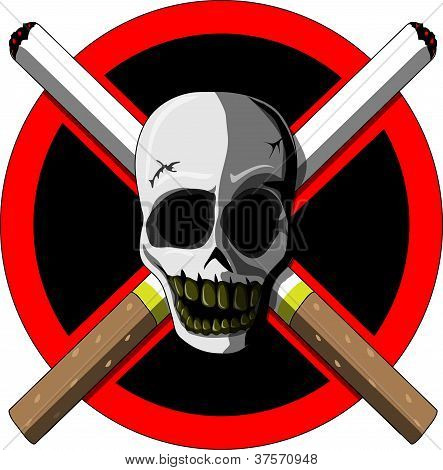 No Smoking (scull And Cigarettes)