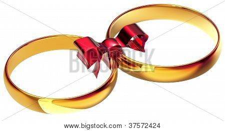 gold wedding rings with the silk bow