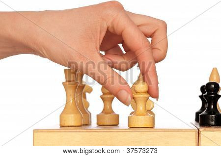 woman plays chess