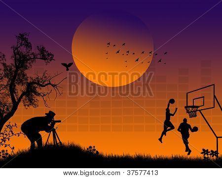 Photographer Shoot Basketball Players