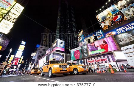 New York City - Sept 18: Times Square, Featured With Broadway Theaters and Taxi Cabs