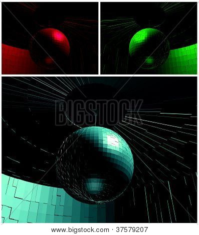 RGB Color Disco Ball In Room Vector