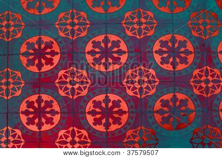 Colorful Pattern Glazed Tile Wall Background