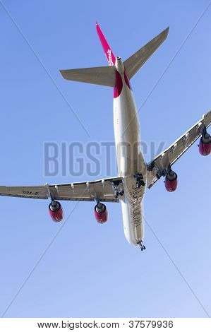 Airbus A340 Virgin Atlantic Lands At Heathrow