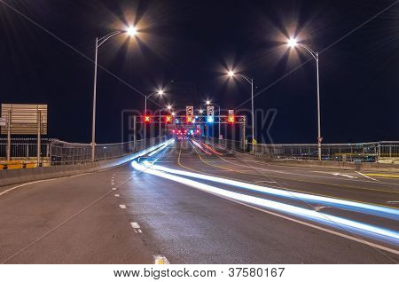 Vehicle Circulation Traffic Light At Night