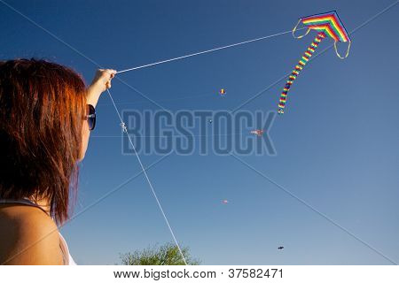 Girl Playing With Kite