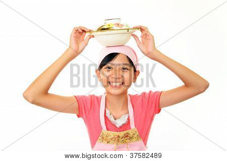 Young girl with food