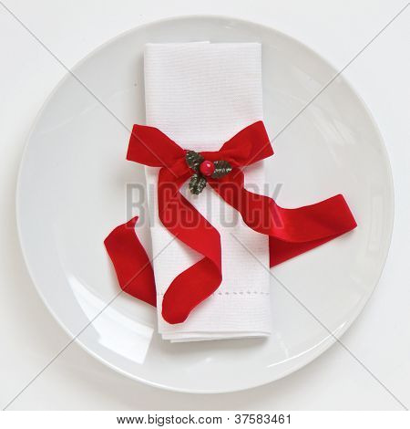 Table Setting With Red Christmas Ribbon