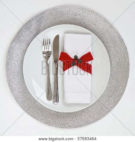 Table Setting With Silver Place Mat