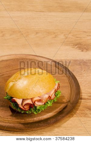 Crisp Bred On Wooden Dish With Copy Space