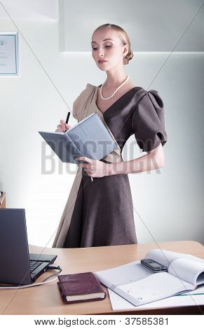 Elegant Aristocratic Lovely Business Woman Studying