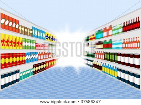 Supermarket Shelves Corridor