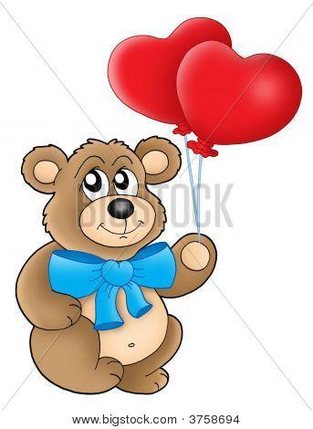Teddy Bear With Heart Balloons