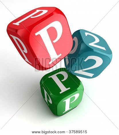 P2P Word On Red Blue And Green Dice Cube