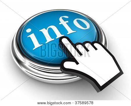 Informações azul botão e mão de ponteiro