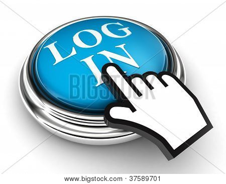 Log In Blue Button And Pointer Hand