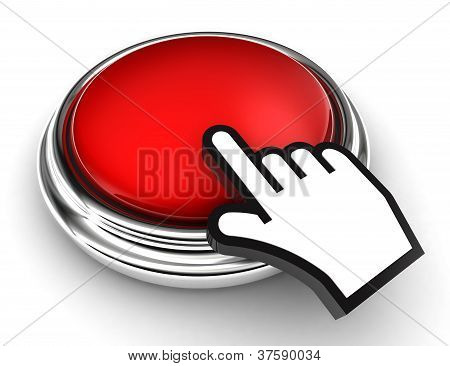 Empty Red Button And Pointer Hand