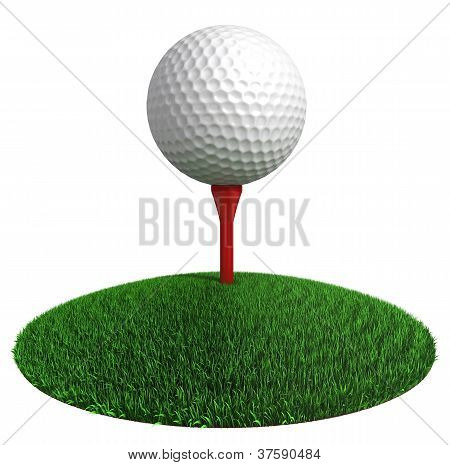 Golf Ball And Red Tee On Green Grass Disc