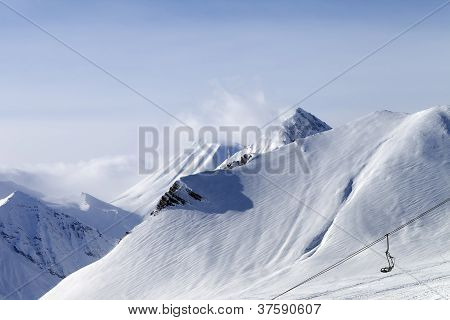 Snow Slope And Ropeway
