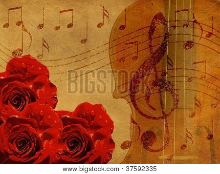 Music Roses And Violin Background