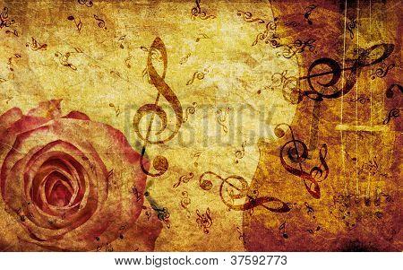 Fundo vintage com rosas e notas