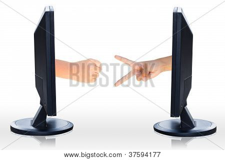 Computer Lcd Flat Panel Monitor With Hand