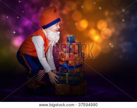 Surprised Little Gnome With Gift Boxes