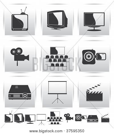 Vector Movie icons. Film and square gray