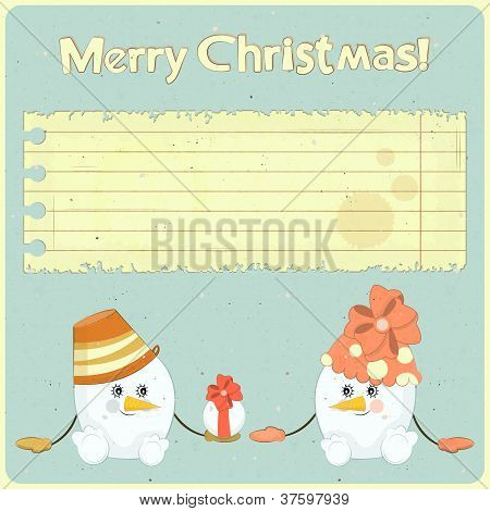 Two Snowmen On Vintage Background