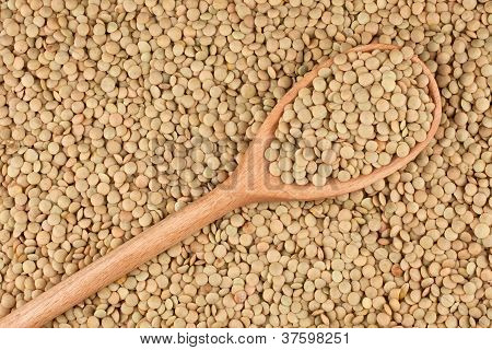 In the wooden spoon are grains lentils against the background of lentil