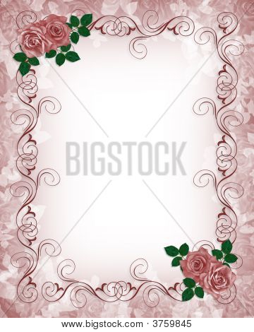 Wedding Invitation Template Roses Stock photo