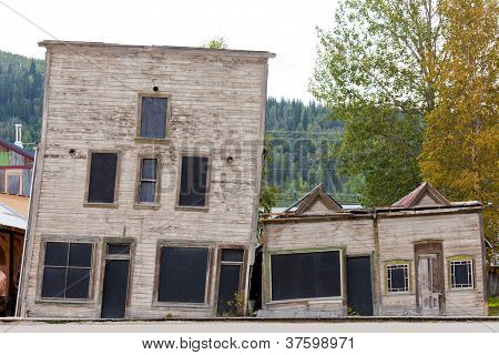 Goldrush heritage buildings in Dawson City Yukon