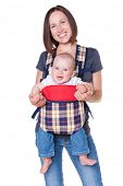 picture of knapsack  - happy mother holding her baby in the knapsack - JPG