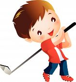 stock photo of gilf  - A boy playing a Golf with gilf stick - JPG
