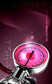 image of bp  - Digital illustration of sphygmomanometer in colour background - JPG
