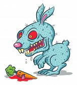 stock photo of rabies  - Illustration of an evil bunny and carrot - JPG