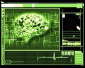 stock photo of temporal lobe  - Green background brain interface technology - JPG
