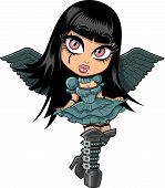 Cute Goth Girl With Wings
