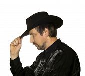pic of wild west  - Men in black hat over white background - JPG