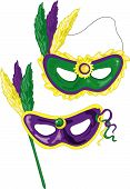 picture of mardi gras mask  - Two colorful illustrations f jeweled masks for mardi gras - JPG
