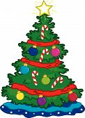 picture of xmas tree  - Full color vibrant illustration of a Christmas tree and ornaments - JPG