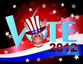pic of jackass  - Vote Check Mark Text 2012 Democrat with Donkey Jackass and US Flag Background - JPG
