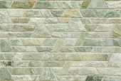 stock photo of trapezoid  - pattern color of modern style design decorative green slate stone wall surface with cement in trapezoid shape - JPG