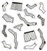 pic of brothel  - Hand drawn doodle underwear elements - JPG