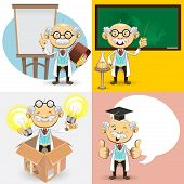 stock photo of professor  - An Illustration Of Genius Bald Professor Scientist And Teacher Giving Presentation Explanation - JPG