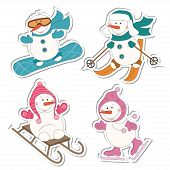 image of sled  - Winter sport  snowman - JPG
