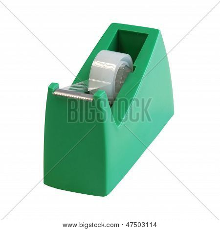 Transparent Tape In The Green Holder Isolated