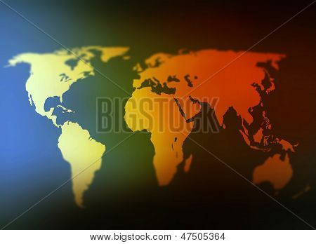 Day And Night World Map Selective Focus